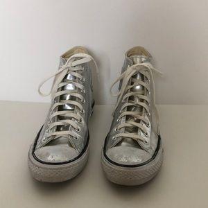 Silver metallic high top converse